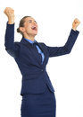 Business woman rejoicing success Royalty Free Stock Photo