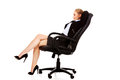 Business woman resting on wheel chair Royalty Free Stock Photo
