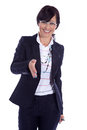 Business woman with salutation smiles Royalty Free Stock Photos