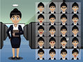 Business Woman Secretary Cartoon Emotion faces Vector Illustration Royalty Free Stock Photo