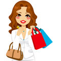 Business woman shopping beautiful holding bags and her credit card and luxury fashion purse Royalty Free Stock Image
