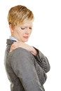 Business woman with shoulder pain young in her Royalty Free Stock Images