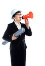 Business woman shouting through megaphone modern Stock Image