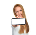 Business woman show blank card or mobile cell phone Royalty Free Stock Photo