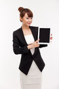 Business woman show empty space of pad PC Stock Photography