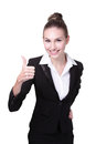 Business woman show thumb up portrait of happy isolated on white background Stock Photo