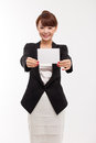 Business woman showing blank card. Stock Image