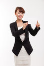 Business woman showing blank card. Royalty Free Stock Photo