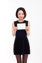 Business woman showing blank card. Stock Photography