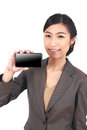 Business Woman Showing blank display of touch mobile cell phone Stock Images