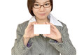 Business woman showing blank white namecard Royalty Free Stock Images