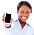 Business woman showing cell phone isolated over white Royalty Free Stock Photos