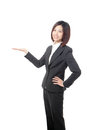 Business woman showing copy space by hand Stock Photography