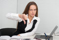 Business woman showing dislike sign young Royalty Free Stock Photo