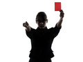 Business woman showing red card silhouette one show g studio isolated on white background Stock Photography