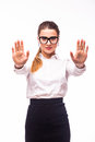 Business woman showing stop gesture by hand. Royalty Free Stock Photo