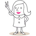 Business woman showing victorious hand sign vector illustration of a monochrome cartoon character friendly Stock Image