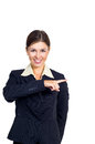 Business woman shows the direction to right. Royalty Free Stock Photo