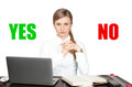 Business woman with Signs of yes and no icon Royalty Free Stock Photo