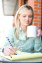 Business Woman sitting at a cafe Stock Images