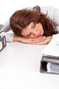 Business woman sleeping while at work Stock Photos