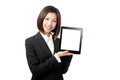 Business woman smile and showing tablet pc Stock Photography