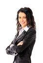 Business woman smiling over white background