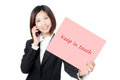 Business woman speaking phone and take paper Royalty Free Stock Photos
