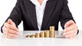 Business woman stack gold coin,save money for the future Royalty Free Stock Photo