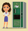 Business woman standing with cup of coffee close to coffee vendi