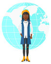 Business woman standing on globe background Royalty Free Stock Photo