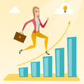 Business woman standing on growth graph.