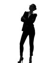 Business woman standing looking up silhouette one smiling in on white background Royalty Free Stock Photo