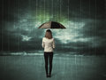 Business woman standing with umbrella data protection concept Royalty Free Stock Photo
