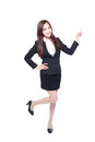 Business woman stands pointing something Royalty Free Stock Photo