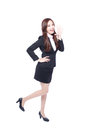 Business woman stands shouting Royalty Free Stock Photo