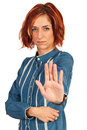 Business woman with stop hand upset gesturing isolated on white background Stock Images