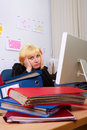 Business Woman in stress. Royalty Free Stock Photos