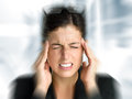 Business woman stress and headache businesswoman with intense painful in job problems Royalty Free Stock Images
