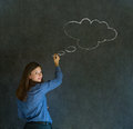 Business woman student or teacher with thought thinking chalk cloud drawing on blackboard background Royalty Free Stock Images