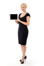 Business woman with tablet isolated on white Royalty Free Stock Photography