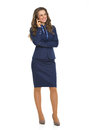 Business woman talking cell phone full length portrait of happy Royalty Free Stock Photography