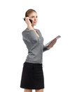 Business woman talking on telephone Stock Photo