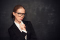 Business woman teacher with glasses  and chalk Royalty Free Stock Photo