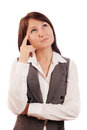 Business woman thinking making choice isolated white Stock Photos