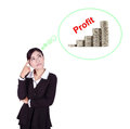 Business woman thinking about profit and coin graph isolated on white background Stock Image