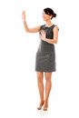 Business woman touching something Royalty Free Stock Photography