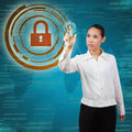 Business woman touching virtual screen of security concept of security information systems and networks Royalty Free Stock Photo
