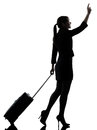 Business woman traveling walking hailing silhouette one traveler studio on white background Royalty Free Stock Photos