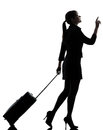 Business woman traveling walking silhouette one traveler studio isolated on white background Royalty Free Stock Image